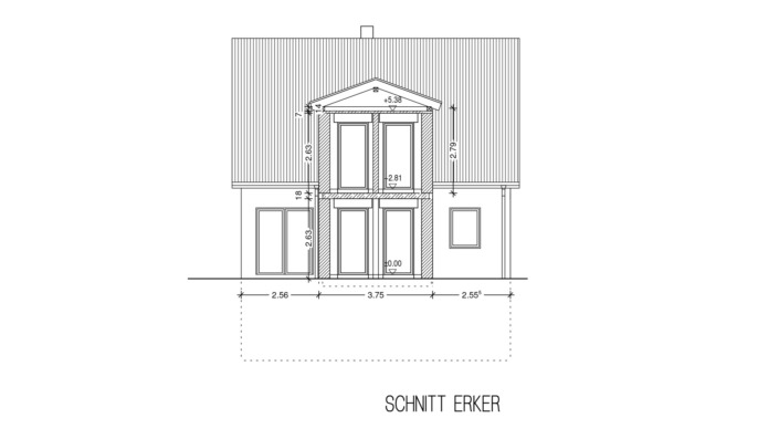 Einfamilienhaus 102 qm Schnitt Erker