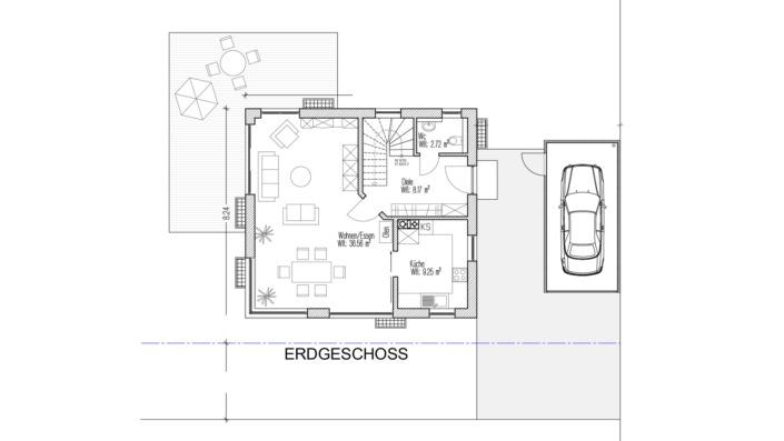107 qm Einfamilienhaus Erdgeschoss