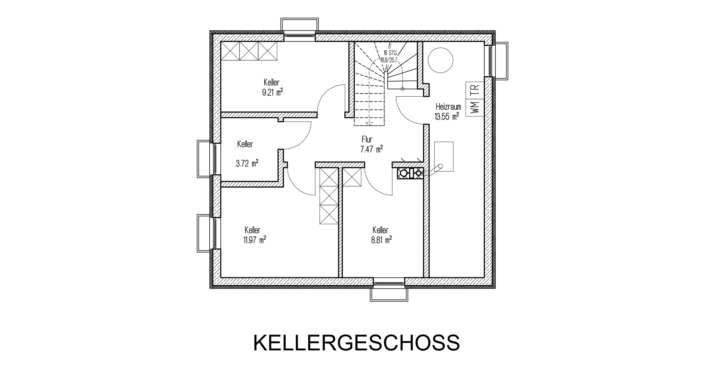 107 qm Einfamilienhaus Grundriss Kellergeschoss