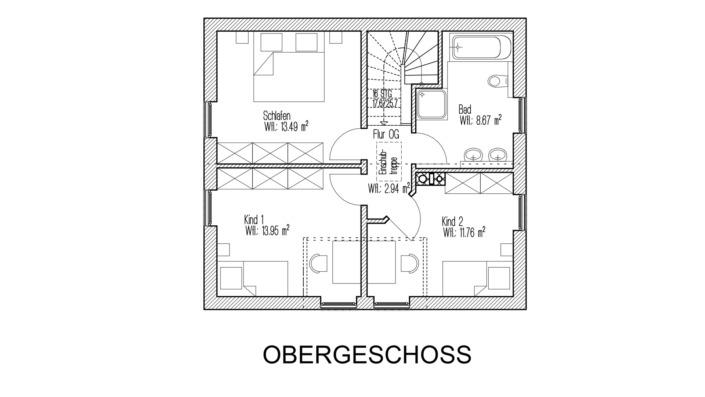 107 qm Einfamilienhaus Grundriss Obergeschoss