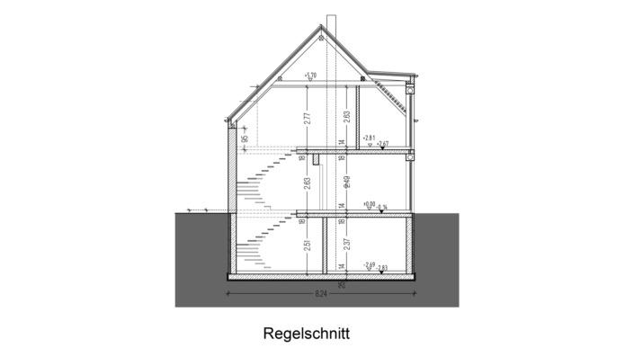 107 qm Einfamilienhaus Regelschnitt