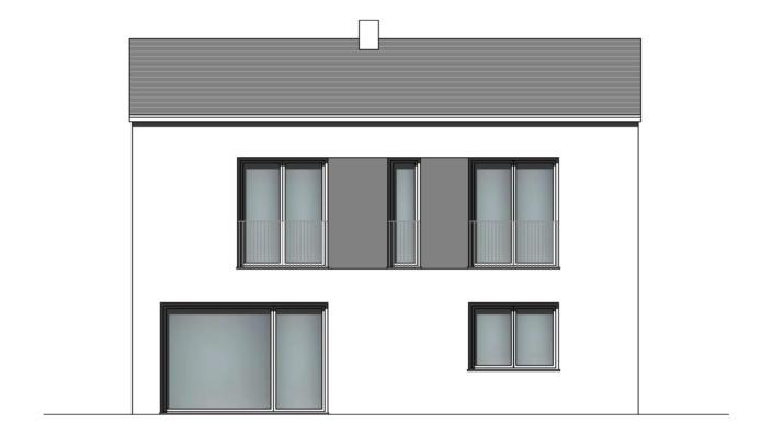 113 qm Einfamilienhaus Fassade Süd