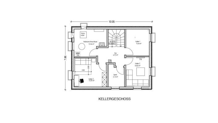113 qm Einfamilienhaus Grundriss Kellergeschoss