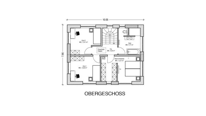 113 qm Einfamilienhaus Grundriss Obergeschoss