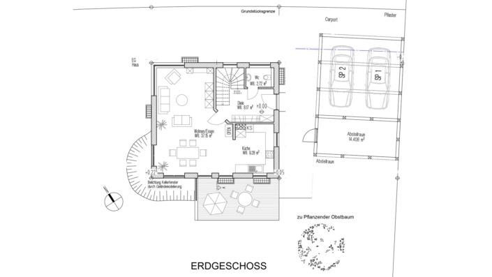 Einfamilienhaus mit 121 qm Grundriss Erdgeschoss