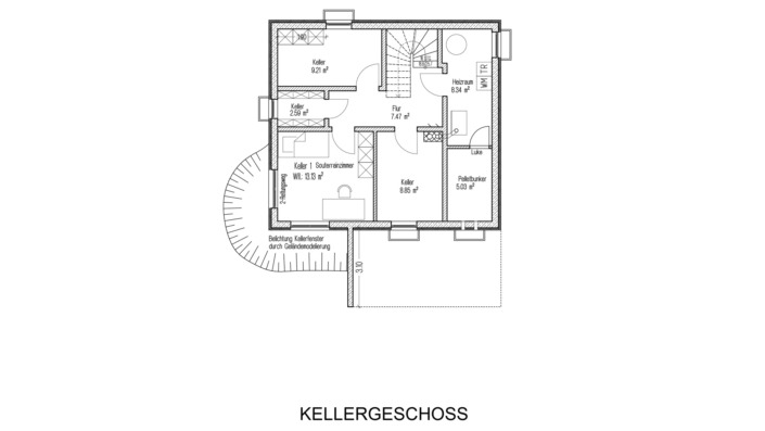 Einfamilienhaus mit 121 qm Grundriss Kellergeschoss