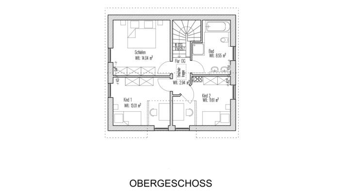 Einfamilienhaus mit 121 qm Grundriss Obergeschoss