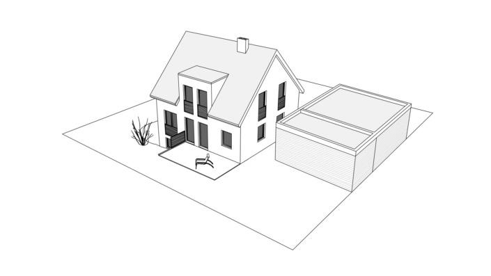 Einfamilienhaus mit 121 qm Vogelperspektive