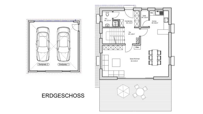 Einfamilienhaus mit 123 qm Grundriss Erdgeschoss