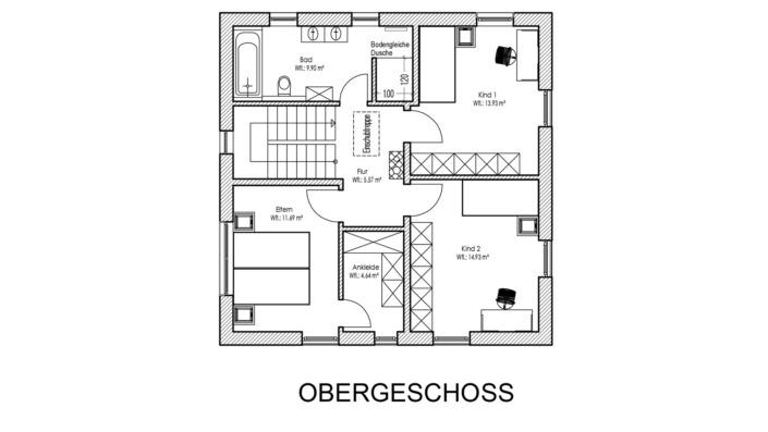 Einfamilienhaus mit 123 qm Grundriss Obergeschoss