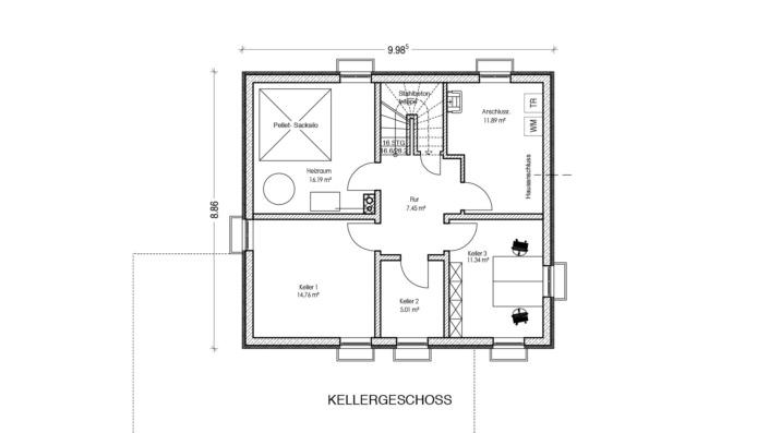 130 qm Einfamilienhaus Grundriss Keller