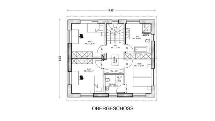 130 qm Einfamilienhaus Grundriss Obergeschoss