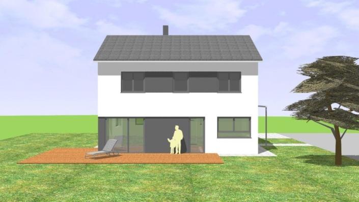 130 qm Einfamilienhaus Ansicht Süd-West