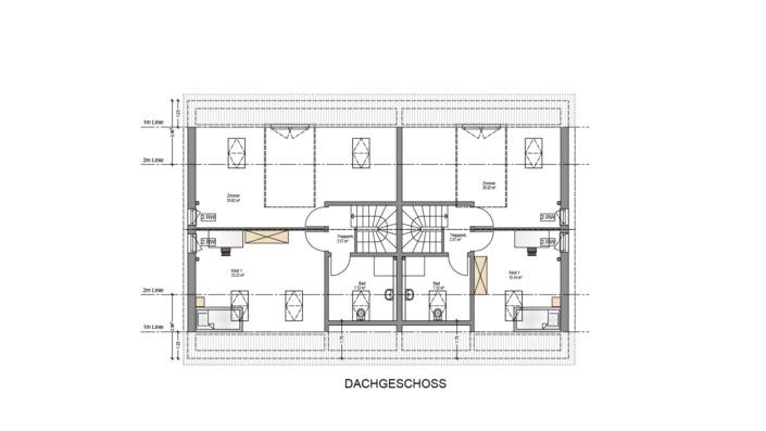4-Familien-Haus, Grundriss Dachgeschoss
