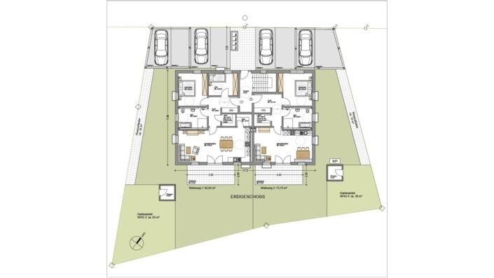4-Familien-Haus, Grundriss Erdgeschoss