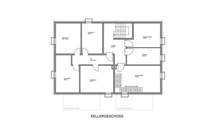 4-Familien-Haus, Grundriss Keller