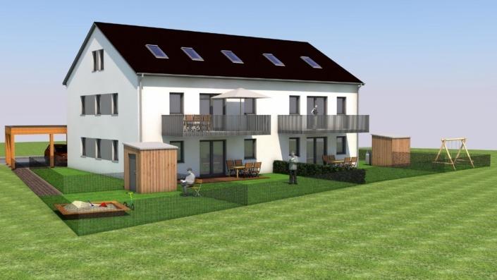 4-Familien-Haus, Ansicht Garten