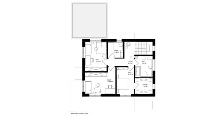 Einfamilienhaus mit 160 qm, Grundriss Obergeschoss