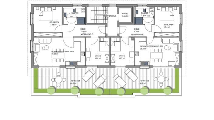 Wohnpark Heng-West, Grundriss Obergeschoss 1