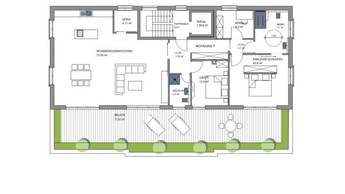 Wohnpark Heng-West, Grundriss Obergeschoss 2