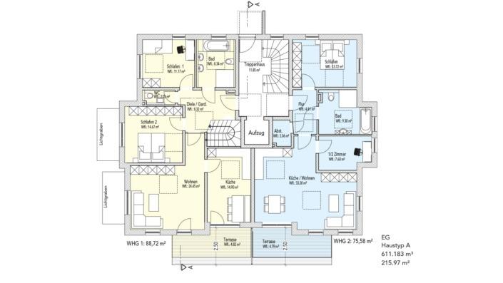 Wohnanlage Schlossblick, Haustyp A, Grundriss