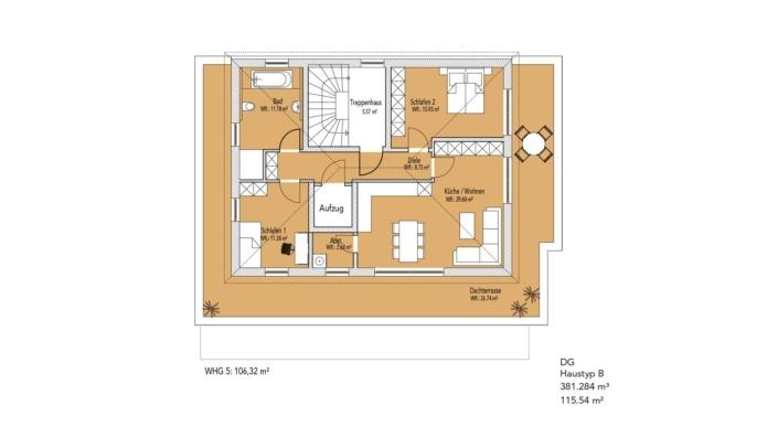 Wohnanlage Schlossblick, Haustyp A, Grundriss Dachgeschoss