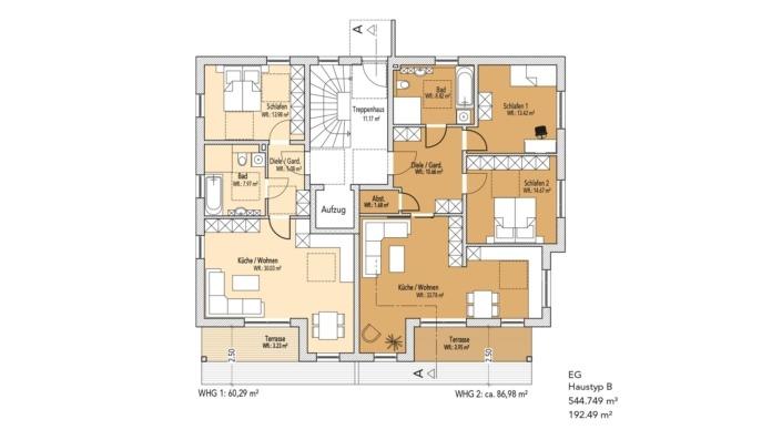 Wohnanlage Schlossblick, Haustyp A, Grundriss Erdgeschoss