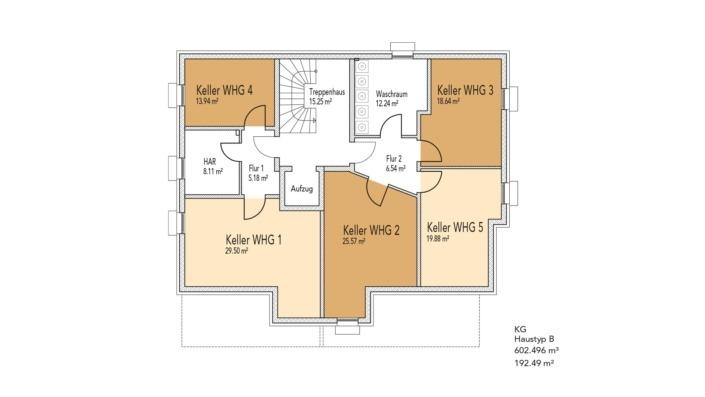 Wohnanlage Schlossblick, Haustyp A, Grundriss Keller