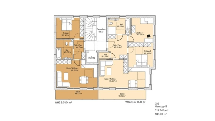 Wohnanlage Schlossblick, Haustyp A, Grundriss Obergeschoss