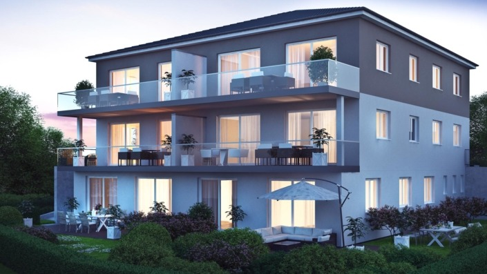 Mehrfamilienhaus Sengenthal, Visualisierung Nacht