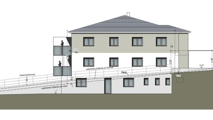 Mehrfamilienhaus Sengenthal, Ansicht Osten