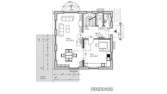 Einfamilienhaus, 136 qm, Grundriss Erdgeschoss