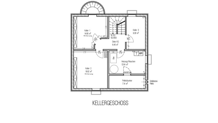 Einfamilienhaus, 136 qm, Grundriss Keller