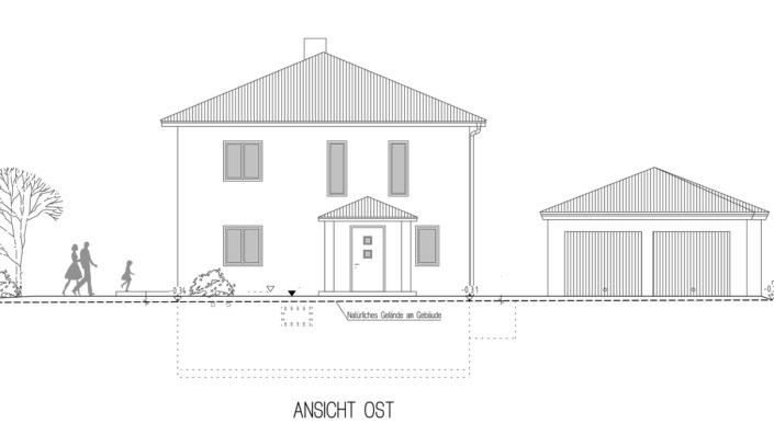 Einfamilienhaus, 136 qm, Ansicht Ost