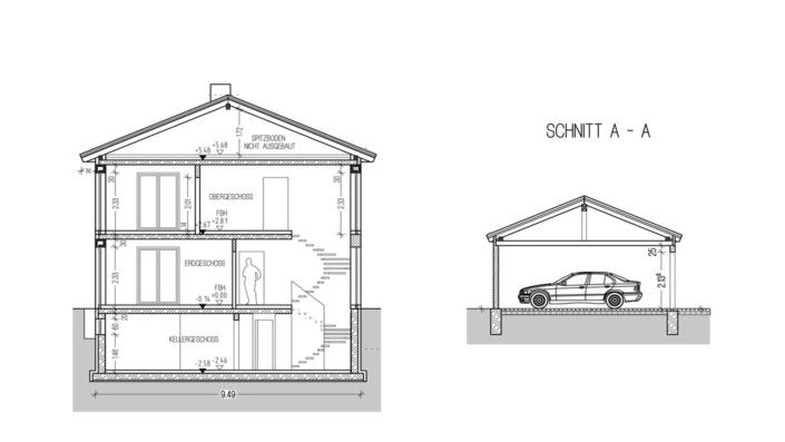 Einfamilienhaus, 136 qm, Schnitt