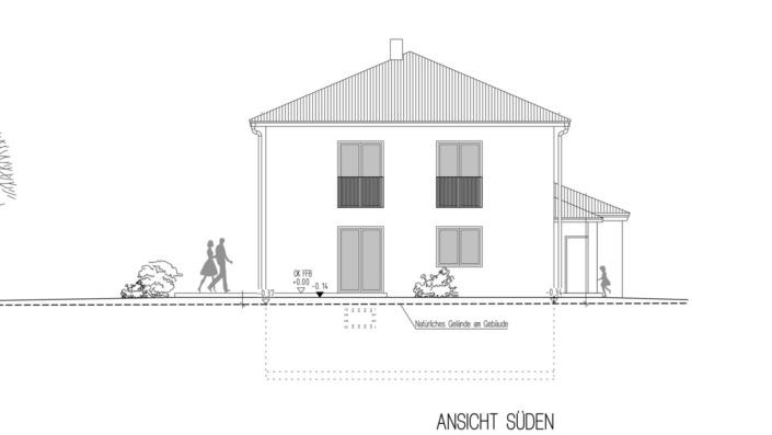 Einfamilienhaus, 136 qm, Ansicht Süd