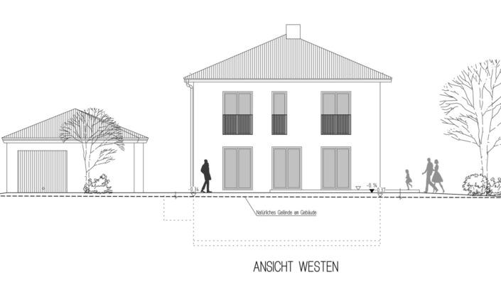 Einfamilienhaus, 136 qm, Ansicht West
