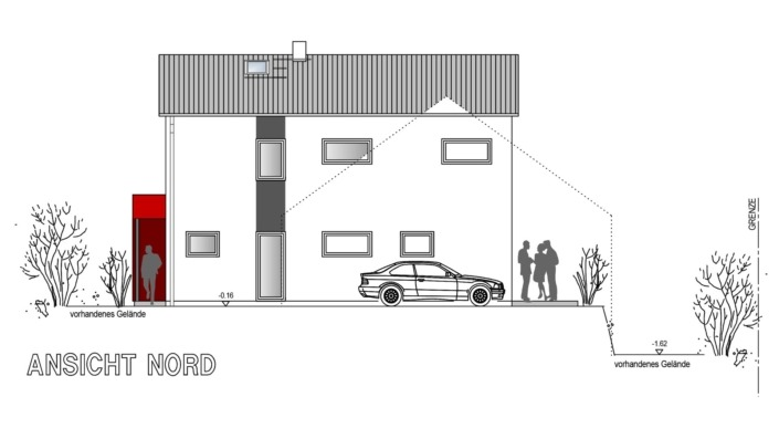 Einfamilienhaus, 138 qm, Ansicht Nord
