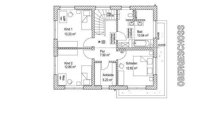 Einfamilienhaus, 138 qm, Grundriss Obergeschoss
