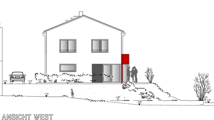 Einfamilienhaus, 138 qm, Ansicht West