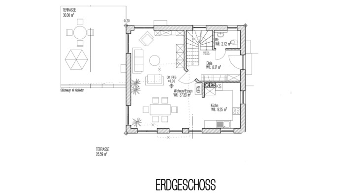 Einfamilienhaus, 138 qm, Grundriss Erdgeschoss