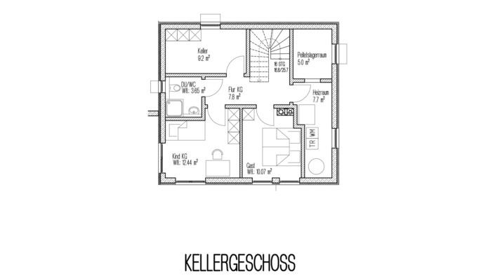 Einfamilienhaus, 138 qm, Grundriss Keller