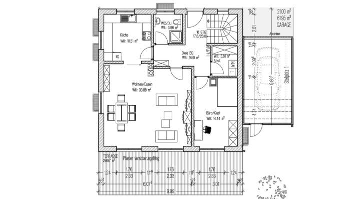 Kombihaus mit 140 qm, Grundriss Erdgeschoss