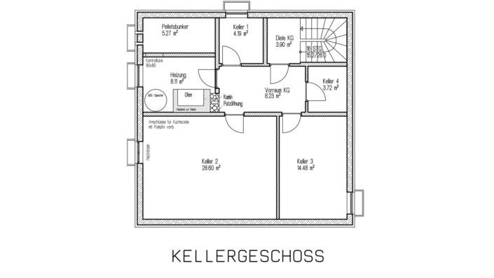 Kombihaus mit 140 qm, Grundriss Keller