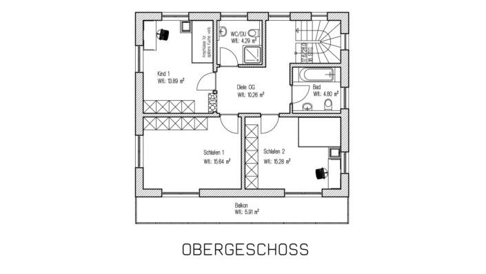 Kombihaus mit 140 qm, Grundriss Obergeschoss