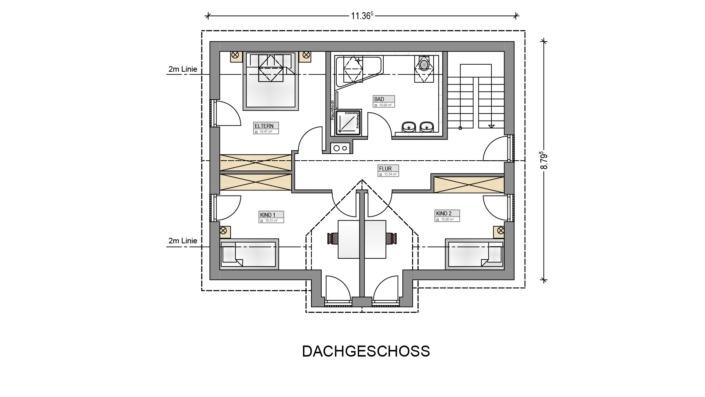 Einfamilienhaus mit 145 qm, Grundriss Dachgeschoss