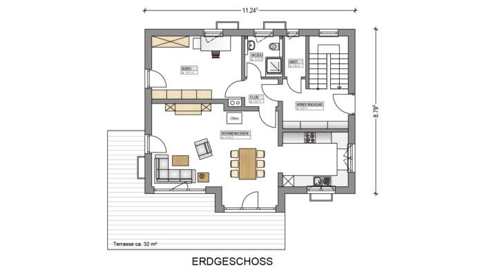 Einfamilienhaus mit 145 qm, Grundriss Erdgeschoss