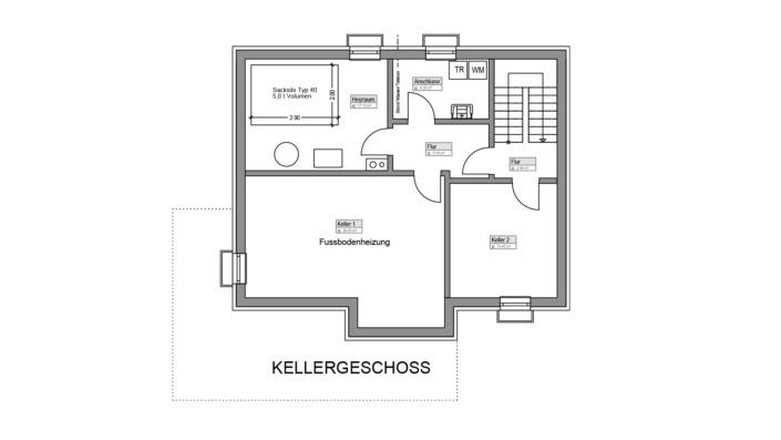 Einfamilienhaus mit 145 qm, Grundriss Keller