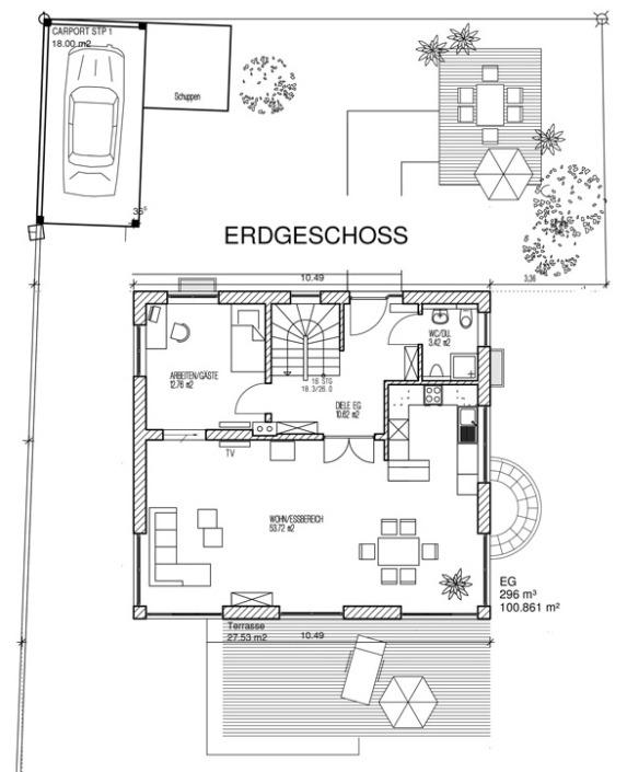 Einfamilienhaus mit 154 qm, Grundriss Erdgeschoss