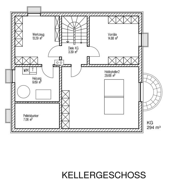 Einfamilienhaus mit 154 qm, Grundriss Keller